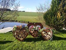 herz aus metall holz regal edel rost garten terrasse deko set - Gartendeko Aus Holz Und Metall