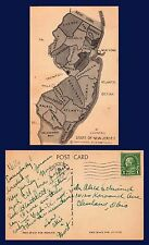 US NEW JERSEY MAP OF STATE'S 21 COUNTIES POSTED 1937 TO CLEVELAND, OHIO