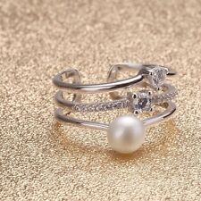 Genuine Freshwater Pearl Real Pearl 7-8mm Pearl S925 Silver Ring