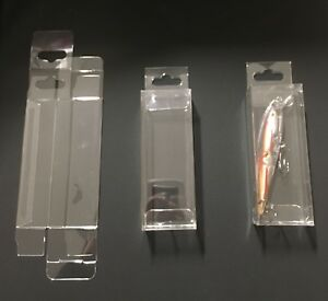 """25 Clear Plastic PET Boxes Fishing Lures Wedding Crafts Display Box 1.5""""X1""""X4"""""""