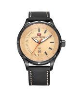 Mens Quartz Watch Beige Dial Leather Strap 3 Hands Calendar Window Date Casual