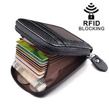 Men Leather Credit Card Holder RFID-Blocking Zipper Pocket Wallet with ID Window