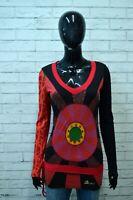 Maglia Donna DESIGUAL Taglia S Blusa Polo Manica Lunga Cotone Shirt Nero Jersey