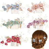 Wedding Crystal Crown Flower Hair Pin Bridal Clips Leaves Tiara Hair Combs