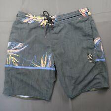 Volcom Size 29 Board Shorts Swim Trunks Surf Grey Stretch Back Pocket Floral