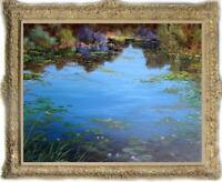 "Old Master-Art Antique Oil Painting Landscape Water lilies on canvas 30""x40"""