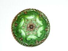 """Pretty Green w/ Gold Accents Czech Hand Painted Lacy Glass Shank Button - 1-5/8"""""""