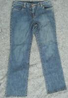 Ann Taylor Loft Straight Mom Jeans Size 8 Stretch Dark Wash faded