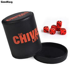 Casino Chivas Leather Dice Cup Plastic with 6pcs acrylic Poker Gambling Box Game