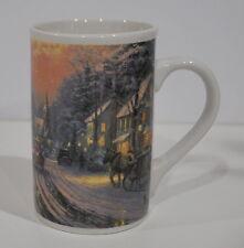 """Thomas Kinkade Village Christmas Mug Very nice Condition Ceramic 5"""" Tall"""