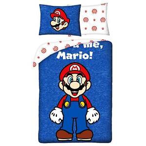 Mario It's-A Me Single Duvet Cover Set 100% Cotton Reversible Children's EU Size