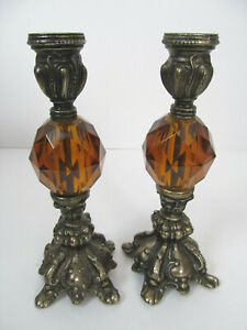 Vtg Pair Candle Holders Ornate Cast Metal Amber Brown Glass 8 inches Tall Set N