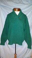 LL Bean Vintage Womens Medium Green Marled Wool Blend Collar Long Sleeve Sweater