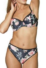 Black & Pink Flower Underwired Foam Padded Bra OR Thong Knickers Sexy
