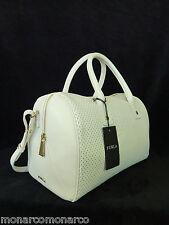 NWT FURLA Petalo White Perforated Leather L Alissa Satchel/Crossbody Bag - $348
