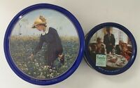Vintage Round Tins Danish Butter Cookies Girl Flower Meadow Family Lot of 2