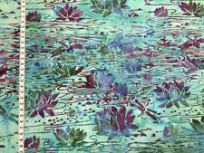 Batik - Seerosen lila/grün - Island Batik - Baumwollstoff