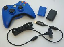 GENUINE Microsoft XBox 360 Play & Charge BLUE Wireless Controller Kit battery