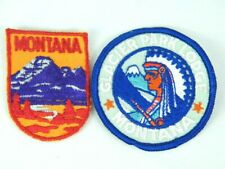 NOS Vintage Montana State Travel Embroidered Patch Lot of 2 Glacier Park Lodge