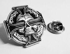 CELTIC Skull German Iron Cross Harley Biker Military Hat Jacket Tie Lapel Pin