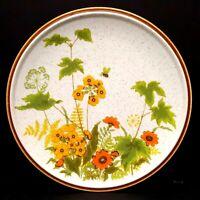 Mikasa Fresh From Garden 3 Dinner Plates Yellow Orange Flowers Vintage 1970s EUC