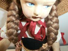 Antica bambola panno Lenci Vestito sottovesti cappellino fiocco originali 32 cm