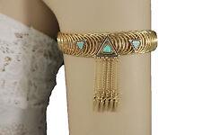 Women Gold Metal Ethnic High Upper Arm Cuff Bracelet Fashion Jewelry Turquoise