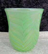 Post Modern Terry Crider Pulled Feather Green Iridescent Art Glass Vase