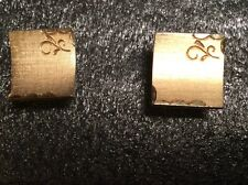 SWANK MENS VINTAGE GOLD TONE SQUARE CUFFLINKS ETCHED EDGES 3/4""