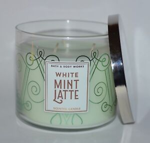 BATH BODY WORKS WHITE MINT LATTE SCENTED CANDLE 14.5OZ LARGE 3 WICK PEPPERMINT
