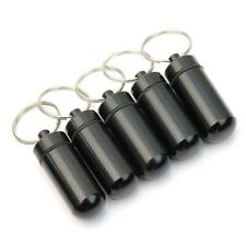 5Pcs Black Waterproof Aluminum Pill Box Case Drug Holder Keychain Container  Top