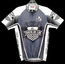 "Sz M ""Triathlon Lab"" Jersey Bicycling Cycling Poly Black/White/Gray Cap Italy"