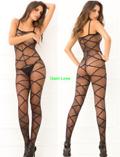 Gain Love Black Sheer Fishnet Crotchless Slip Body Stockings Bodysuit Nightwear