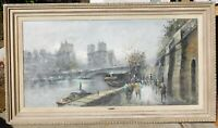 Antonio de Vity, noted Ital. artist, oil/canvas 24 x 48 Paris scene