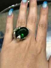 925 Sterling Silver Snake Large Oval Green Wrap Around Ring