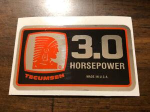 Tecumseh Engine-decals H30 V30 minibike Tiller Mower Chrome HP Decal.