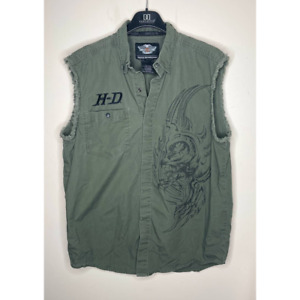 Harley Davidson Army Green Frayed Sleeveless Shirt Vest Button Front Large
