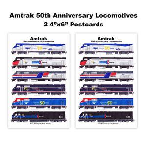 "Amtrak 50th Anniversary Locomotives 2 4""x6"" Postcards Andy Fletcher"