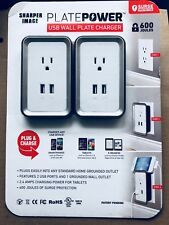 2pk Sharper Image Power Plate USB Wall Charger Two-Pack Grounded Wall Outlet NEW