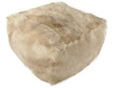 Eco Lambskin Pouf 23 5/8x23 5/8x11 13/16in Cube Stool Floor Cushion