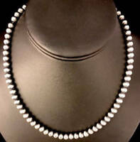 "Native American Navajo Pearls 4mm Sterling Silver Bead Necklace 16"" - 32"" 302"