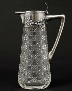 "Antique 1900s Cut Glass Pitcher Wilhelm Binder 800 German Silver Grapevines 9"" T"