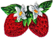 STRAWBERRIES w/BLOSSOMS - FRUIT - BERRY - FOOD - Iron On Embroidered Patch