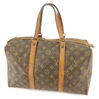 Louis Vuitton Boston bag Monogram Brown Beige Women Men Auth T9623
