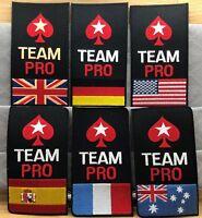 GENUINE POKERSTARS UK/FRANCE/SPAIN/GERMANY/USA/AUSTRALIA TEAM PRO IRON-ON PATCH