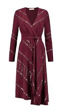 TORY BURCH Women's Dress NWT $1966 Embellished 100% Silk Belted Burgundy Sz 0