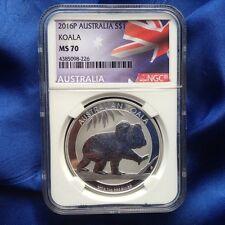 2016 (P) AUSTRALIA S$1 SILVER KOALA,1 oz, NGC MS70, FLAG LABEL
