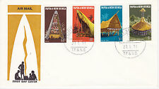 PAPUA NEW GUINEA FIRST DAY COVER 1971 LOCAL ARCHITECTURE SCOTT #319-322 THATCHED