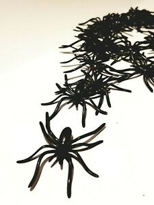 Halloween Decorations 20pcs Spooky Scary Horror Black Plastic Spiders Insects