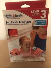 Swim School Soft Fabric Arm Floats - Pink w/Pattern - 30 - 50 LBS - Level 3.